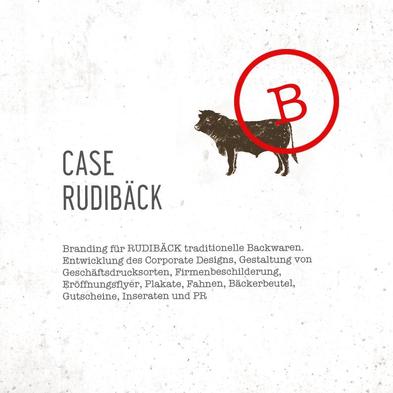 Branding für RUDIBÄCK traditionelle Backwaren.  Entwicklung des Corporate Designs, Gestaltung von  Geschäftsdrucksorten,Firmenbeschilderung,  Eröffnungsflyer, Plakate, Fahnen, Bäckerbeutel,  Gutscheine, Inseraten und PR;