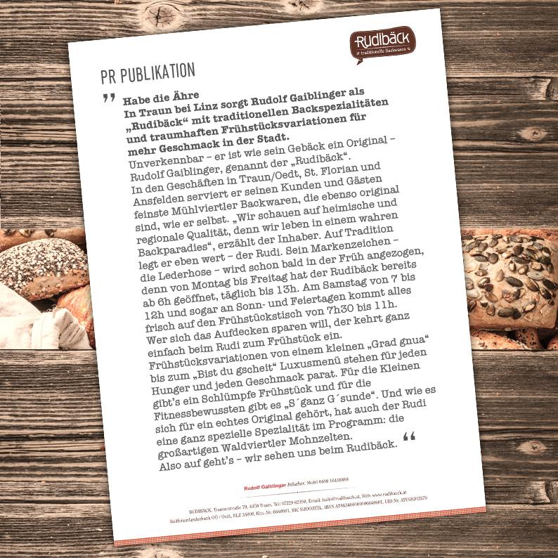 Branding für RUDIBÄCK traditionelle Backwaren / PR-Artikel;