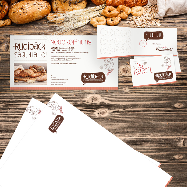 Branding für RUDIBÄCK traditionelle Backwaren / Drucksorten;