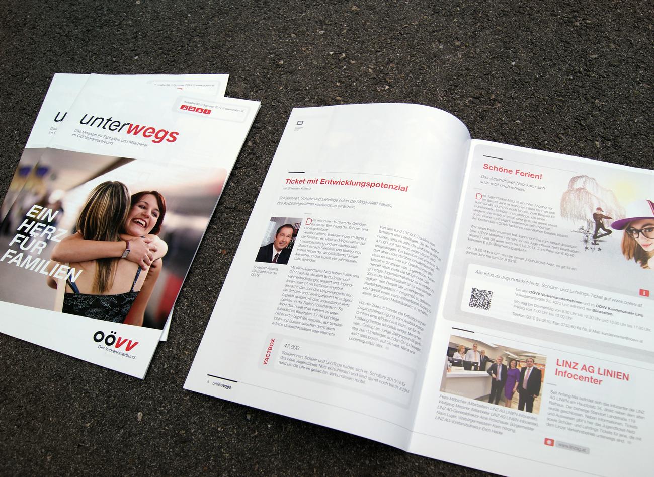 Titel & Innenseiten des Magazins UNTERWEGS vom OÖ Verkehrsverbund: