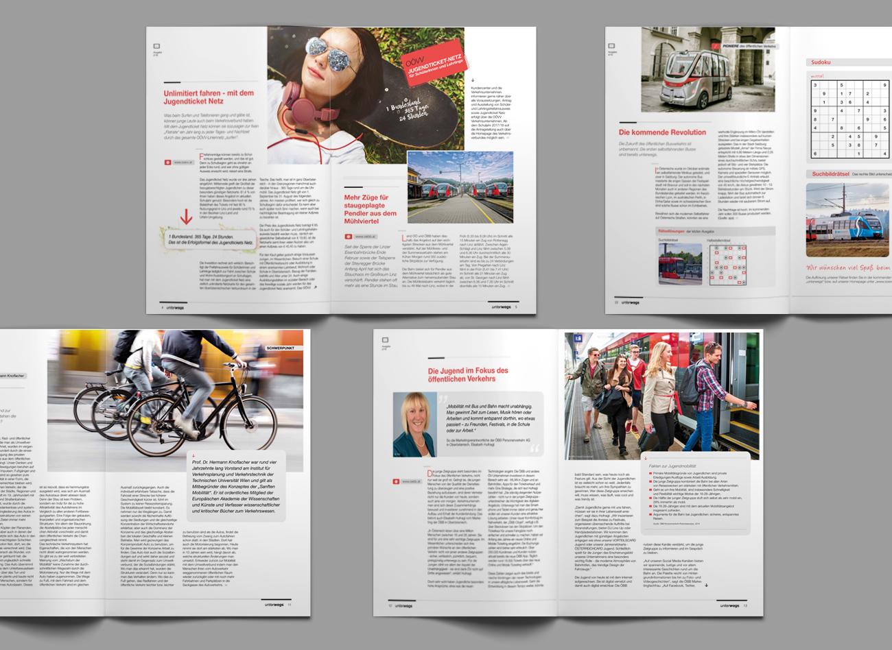 Innenseiten des Magazins UNTERWEGS vom OÖ Verkehrsverbund;