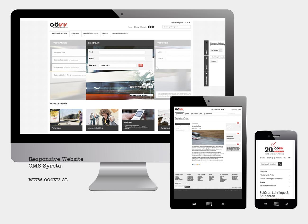 Responsive Website für den OÖ Verkehrsverbund