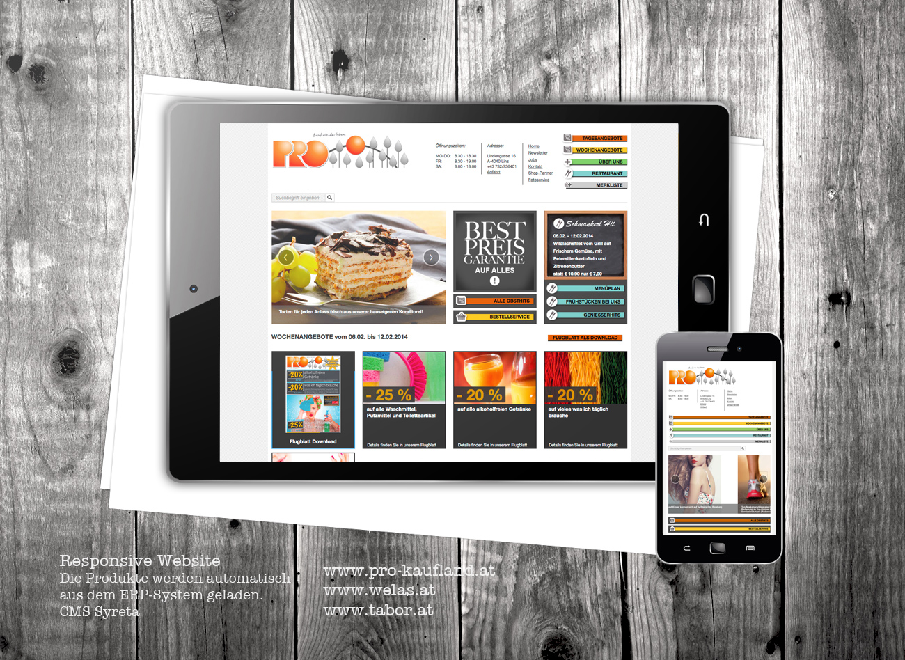 Responsive Website für die Einkaufszentren Prokaufland, Welas & Tabor