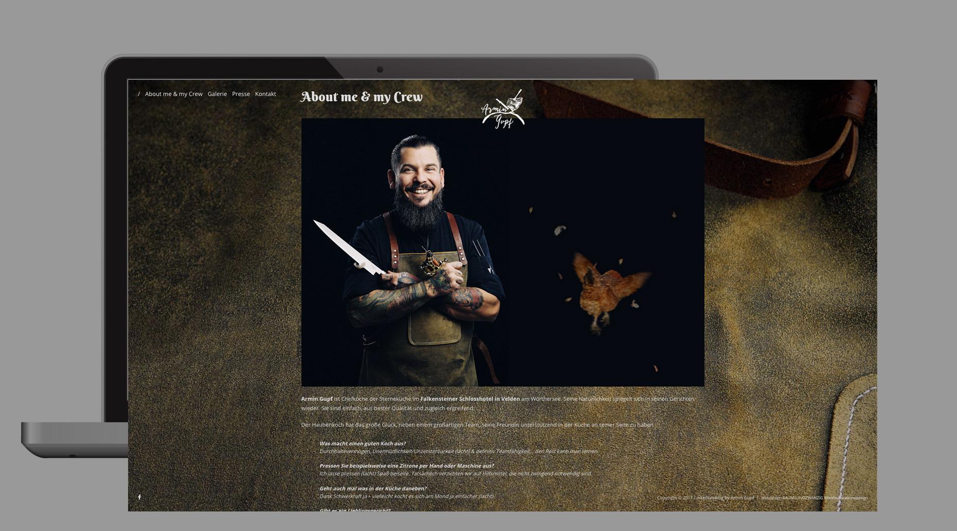 Websitegestaltung für den Haubenkoch des Schlosshotels Velden